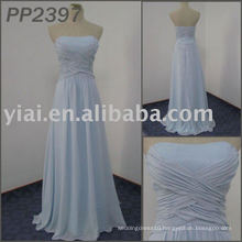 2011 free shipping high quality chiffon beaded strapless handmade flowers beaded elgant evening dress 2011 PP2397