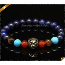 Pulseras de perlas de piedra de mezcla de moda con encantos de león (CB0102)