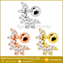 Surgical Steel Silver & Rose Gold Plated 7 Zircons Cartílago Tragus Barbell