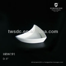 white ceramic triangle sauce dish