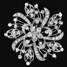 Large Crystal Rhinestone Luxury Wedding Brooch silver plated high quality