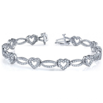 Hot Selling Heart Shape 925 Silver Bracelets with Cubic Zirconia
