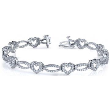 Горячие продажи Сердце формы 925 Серебряные браслеты с кубическим цирконием