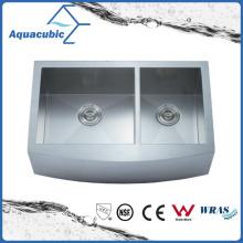 Tazón doble Horno hecho a mano de acero inoxidable Cupc cocina (ACS3321A2Q)