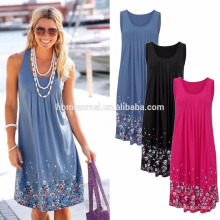 heißes verkaufendes schönes Kleid für schöne Russland-Dame für Sommer, knielanges beiläufiges Kleid ohne Ärmel für Dame