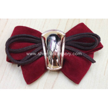 Women Red Fabric Flower Shoe Clips Fashion Ornaments