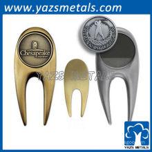 customized metal golf divots, custom high quality antique brass/nickel golf divot tools