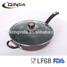 Die-casting non-stick fry wok with tempempered glass lid