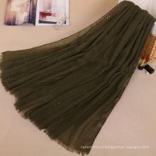 Новые оттенки широкий хиджаб шаль большие Размер блестки переливаются хлопок шарф