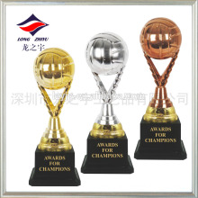 Colourful trophy football plating golden trophy