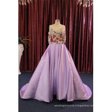 Purple Long Sleeve Flower Satin Prom Party Evening Dresses