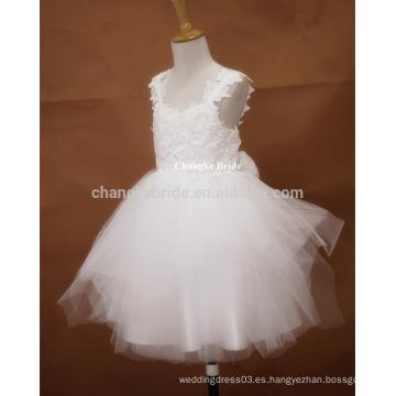 Vestido hambriento de la muchacha de flor de Tull del marfil de la alta calidad 2016 para los cabritos