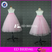 Lovely Pink and White Tulle Floor Length Flower Girl Dress