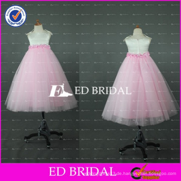 Lovely Pink und White Tulle bodenlangen Blumenmädchen Kleid