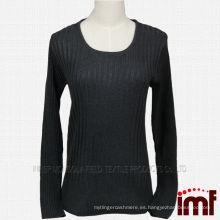 Señoras gris Ribbing hecho punto suéter de cachemira