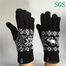 Doble capa de invierno cálido moda Jacquard baratos tejidos cinco guantes dedo