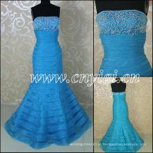 JJ3050 Organza Layered Mermaid Sky Blue vestidos de casamento nupcial