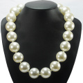Glass Pearl Necklace with Big Pearl Pendant