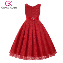 Grace Karin sin mangas de encaje de cuello en V flor niña Princesa Pageant Red Girls vestido 2 ~ 12Years CL008938-7