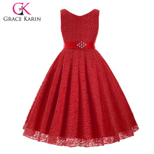 Grace Karin sem mangas V-Neck Lace Flower Girl Princess Pageant Red Girls Dress 2 ~ 12Years CL008938-7