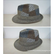 Polyester / Wool Blend, T/c Lining Inside Fashion Baker Boy Cap With Fedora Shape For Men