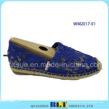 Zapatos casuales de goma de la cuerda del cáñamo de las mujeres con el cordón