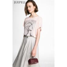 Mode-Druck-Rosa-Frauen-T-Shirt