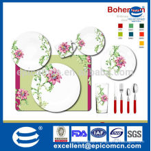 round 10pcs plates cup cutlery set patterned with big pink flower and green leaves dinnerware bone china material