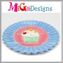 Heiße Verkaufs-kundenspezifische keramische Kuchen-Design-Platte und Teller
