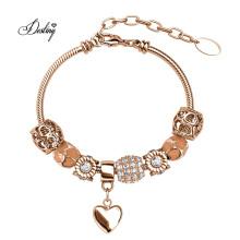Premium Austrian Crystal Jewelry Bling Cute Open Heart Bellissa DIY Charm Bracelet for Women