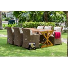 PE Rattan dining table set European Style for Outdoor Garden Furniture