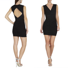 HC0004 V neck sleeveless keyhole back zipper closure black crepe ruched bodice short mini skirt cocktail dress 2013