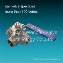 Válvula de bola de 3 vías de acero inoxidable estándar