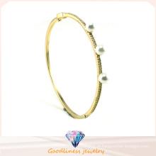 Jóias da Mulher Pérola Branca Prata 925 Prata de Ouro Plating bracelete Pulseira Presente G41246