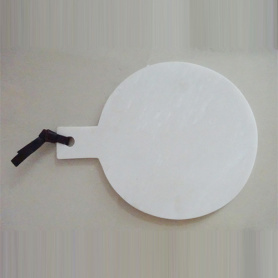 White Round Marble Chopping Board With Handle