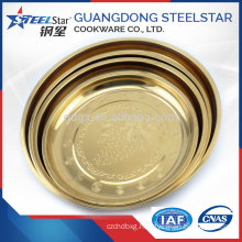 OEM design mental stainless steel round golden tray or plate for food and fruit