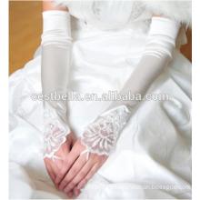 Guantes de mano bonitos largos guantes de satén blanco nupcial