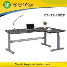Mesas ajustáveis motorizadas de escritório de três pés da mobília com a coluna de levantamento elétrica de 2 segmentos