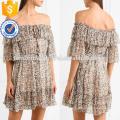 Multicolore Off-The-épaule à manches courtes en soie imprimée Mini robe d'été Fabrication en gros Fashion femmes vêtements (TA0007D)