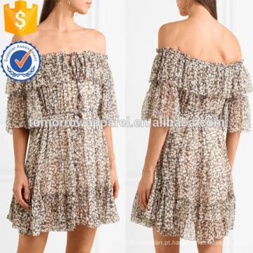 Multicolorido off-a-ombro manga curta impressa de seda mini vestido de verão manufatura atacado moda feminina vestuário (ta0007d)