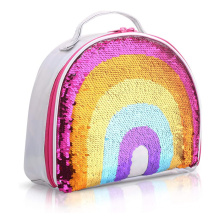 Reversible Sequin lunch bag Rainbow Lunch Box Insulated Kids Lunch Bag for Girls