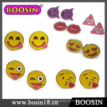 Pendientes de botón de Emoji de metal de 2016 nuevos diseños para niñas