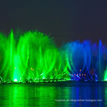 fonte de água e show de luzes