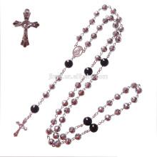 Mode Silber Bling Bling Crystal Gebet Rosenkranz Perlen Halskette