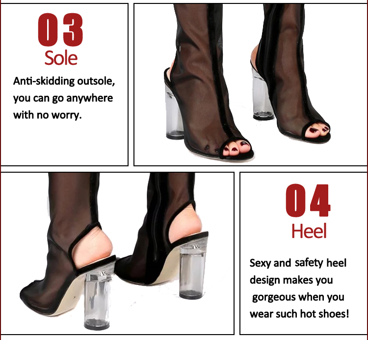 Breathable mesh fabric over knee booties sandals