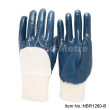 NMSAFETY bleu nitrile enduit interlock cotton doublure gant de travail industriel