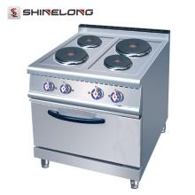 Vendedor caliente 700 Series Cocina Eléctrica de 4 Placas con Horno en el restaurante