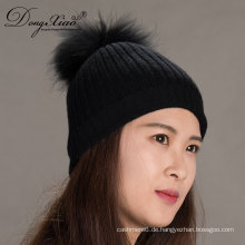 Schwarz stricken handgemachte echte Waschbär Mütze Cashmere Hut mit Pelz