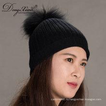 Черный вязание handmade реальный Енот Шапочка шапка кашемир с мехом