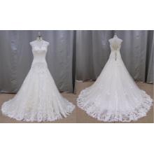 R011 Slleeveless Back Keyhole Lace Wedding Dress 2016